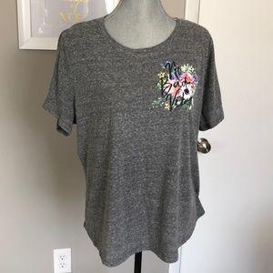 Lane Bryant No Bad Days Floral Grey T-shirt 14/16